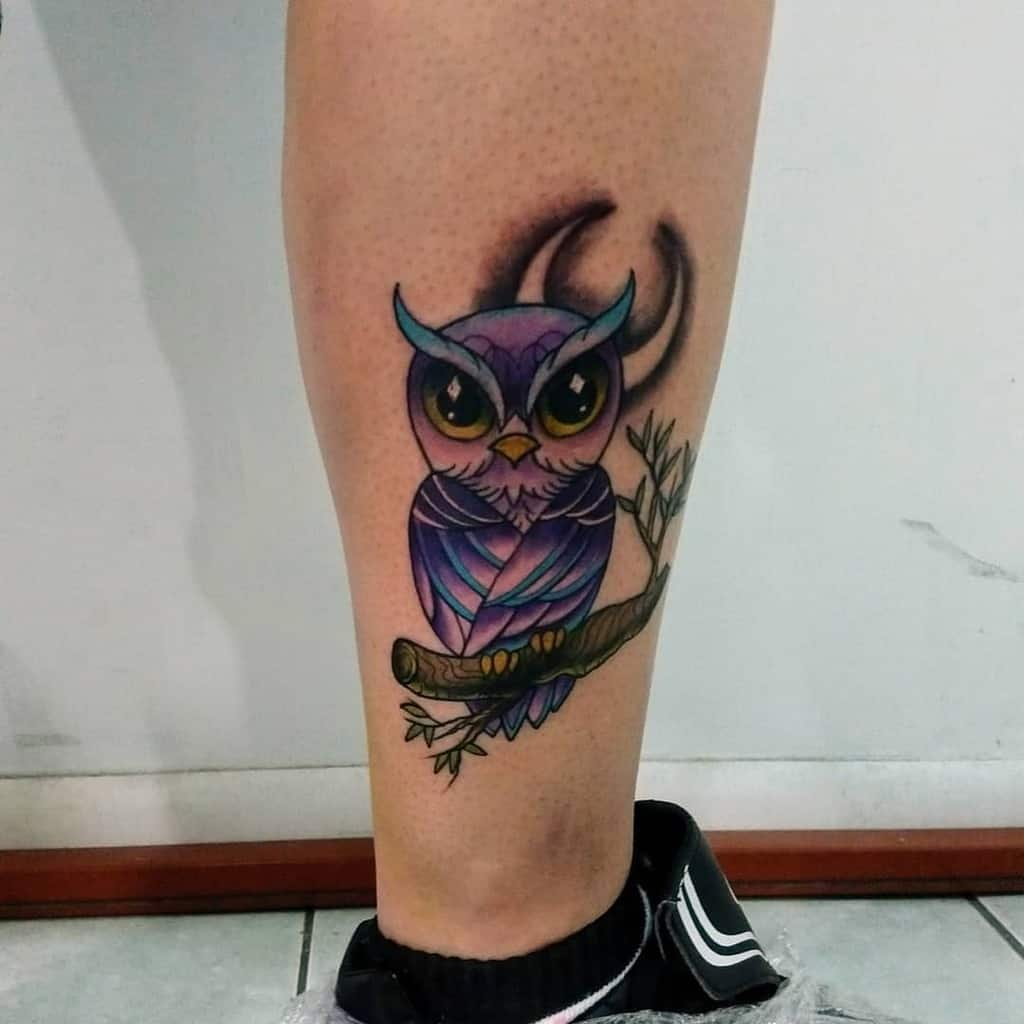 Small Owl Ankle Tattoos nachdiaz_tattoo