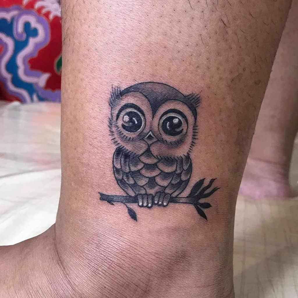 Small Owl Ankle Tattoos nutdub