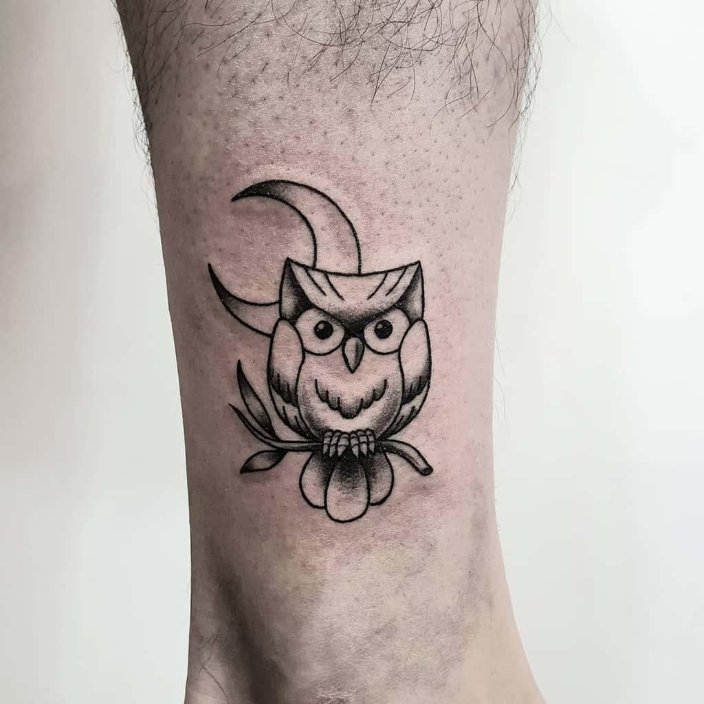 Small Owl Ankle Tattoos tattooist_peace