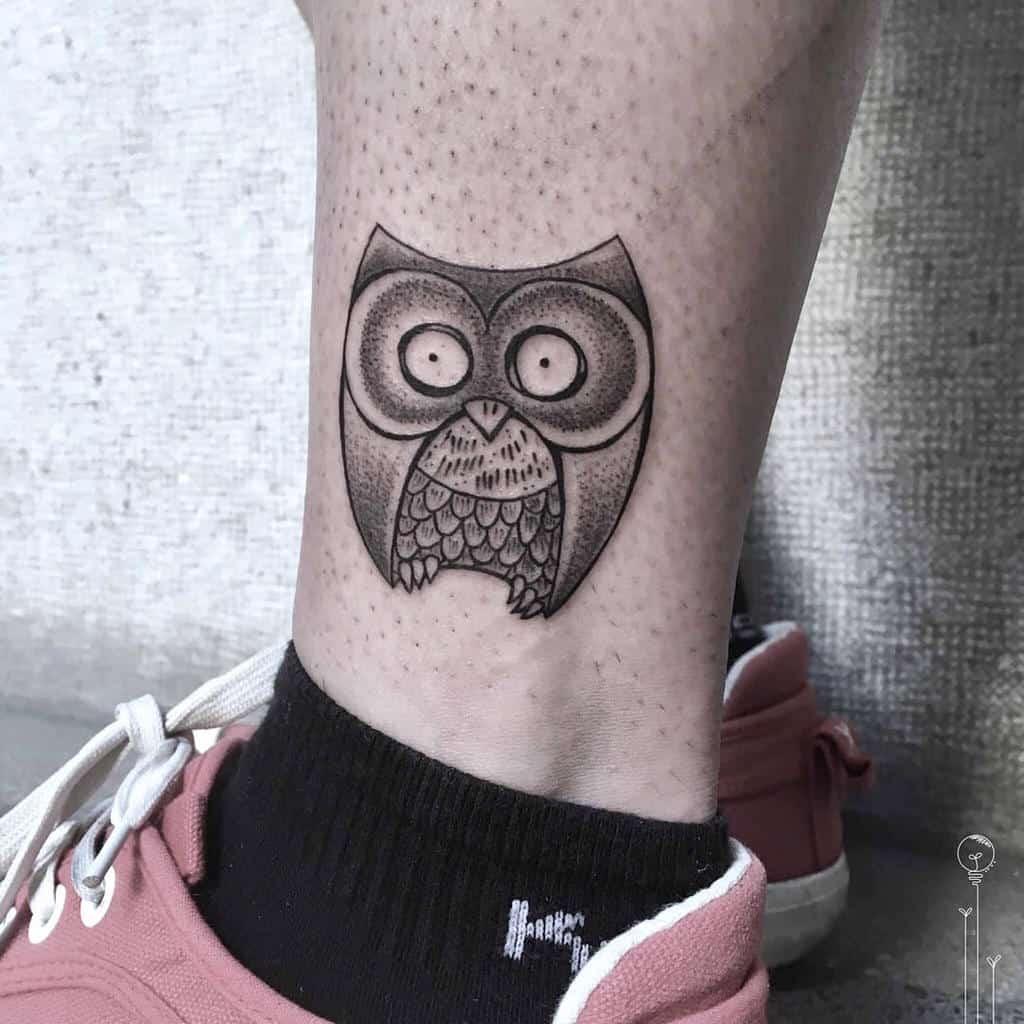 Small Owl Ankle Tattoos veronikarupf