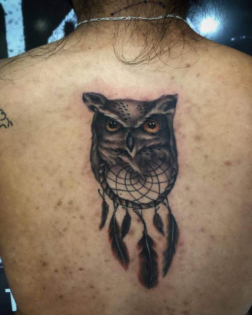 Small Owl Back Tattoos blackinkcuernavaca
