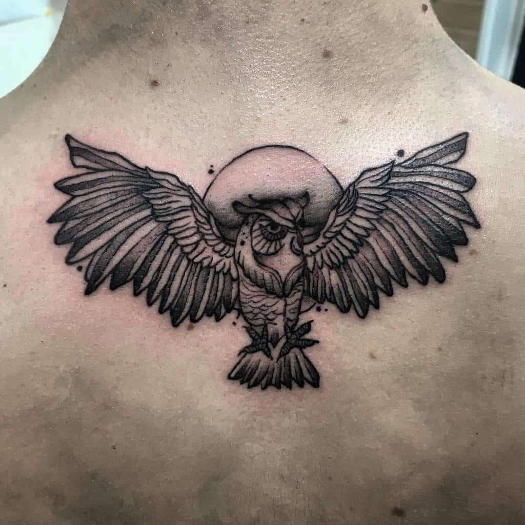 Small Owl Back Tattoos mv_tattooer