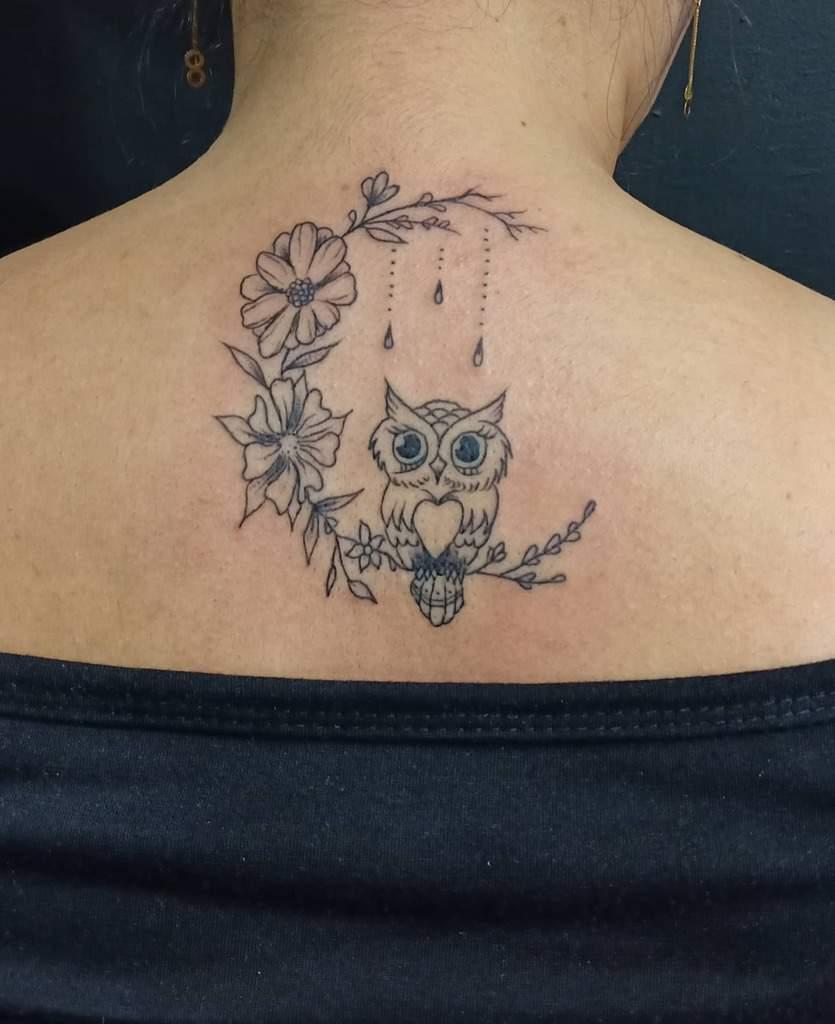Small Owl Back Tattoos x_onetattoo