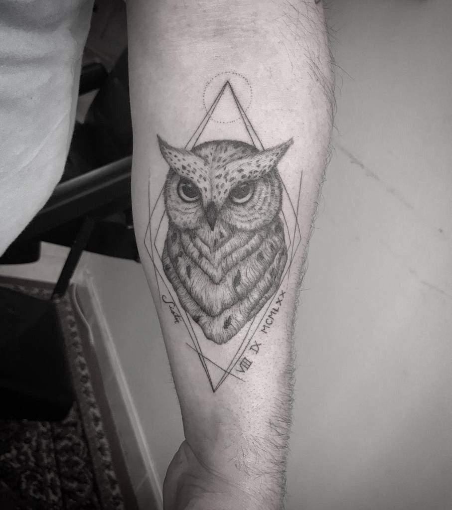 Small Owl Forearm Tattoos taratattoo09