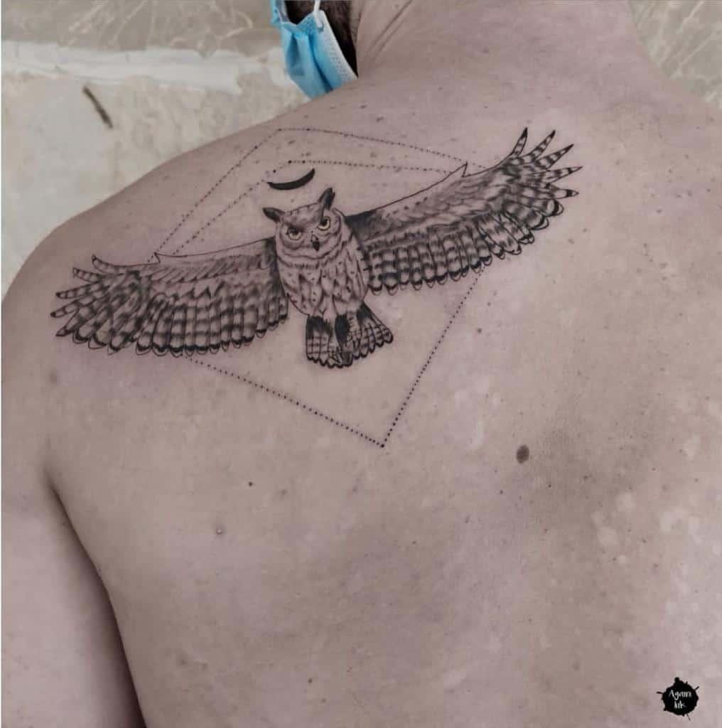 Small Owl Shoulder Tattoos agami_ink
