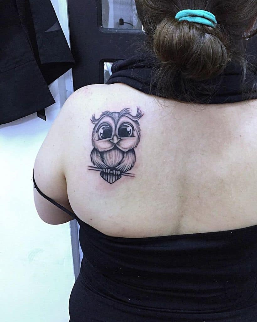 Small Owl Shoulder Tattoos modifikarte