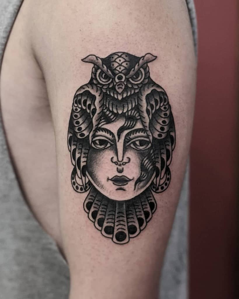 Small Owl Upperarm Tattoos blackbirdstattooer