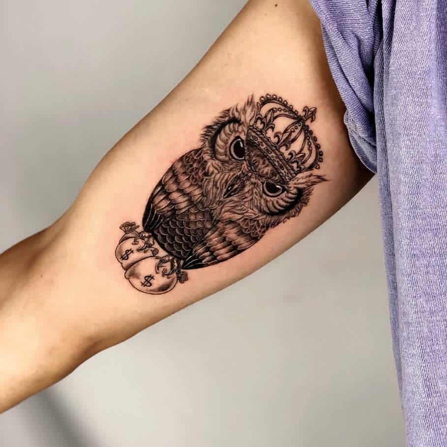 Small Owl Upperarm Tattoos nadoo_tattoo