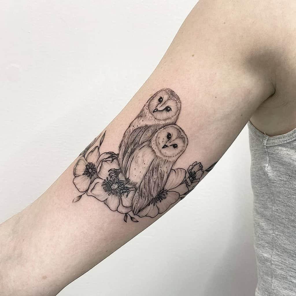 Small Owl Upperarm Tattoos studioinkwell