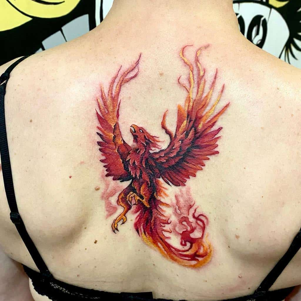 Small Phoenix Back Tattoos white_indian_tattoo_lviv