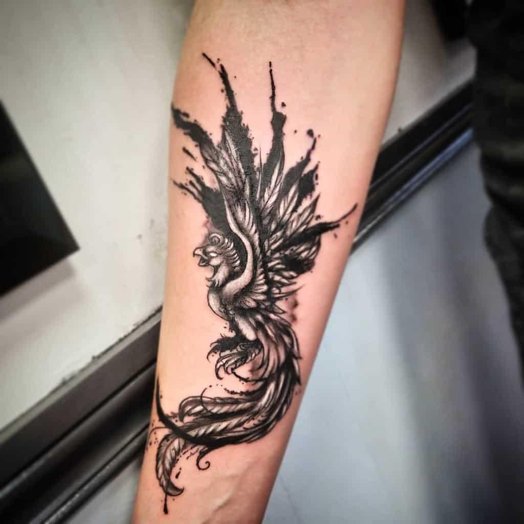 Small Phoenix Forearm Tattoos anjofernandestattoo