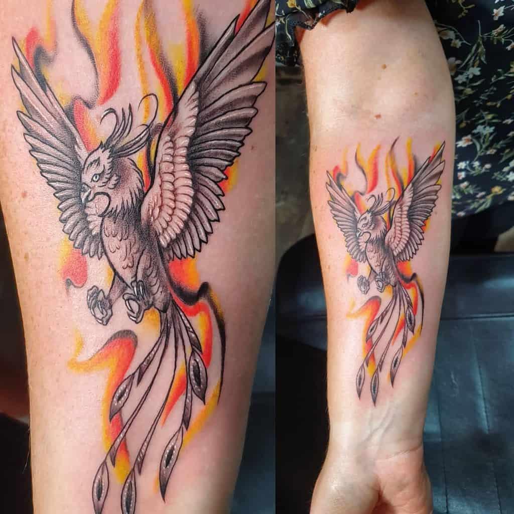 Small Phoenix Forearm Tattoos flotattooshop