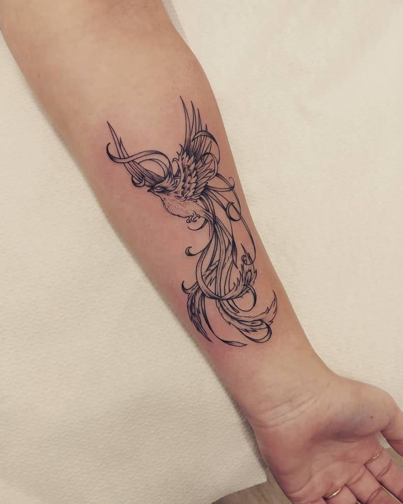 Small Phoenix Forearm Tattoos mr.jones.tattoo