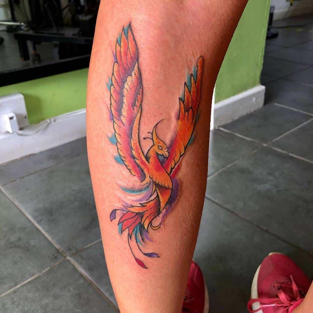 Small Phoenix Leg Tattoos paganinkbysarahstreet