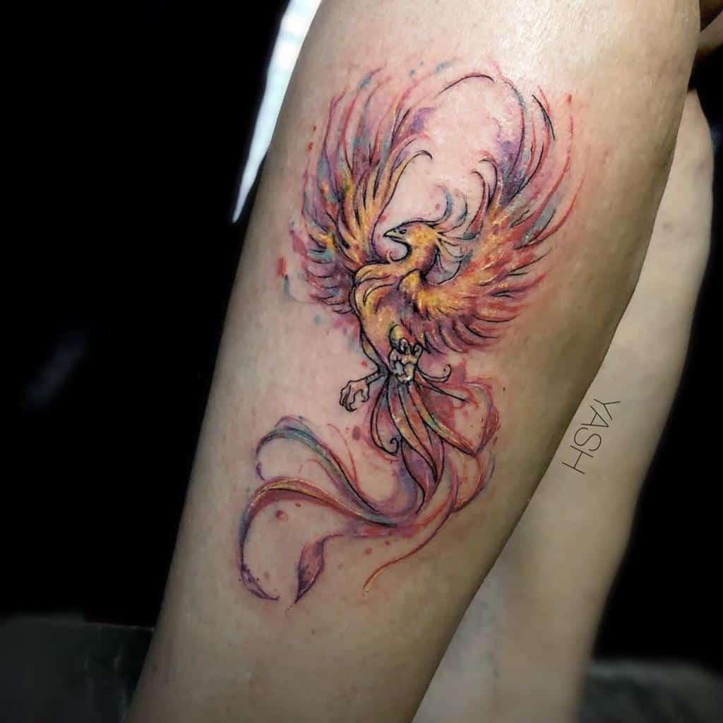 Small Phoenix Leg Tattoos yash_arts