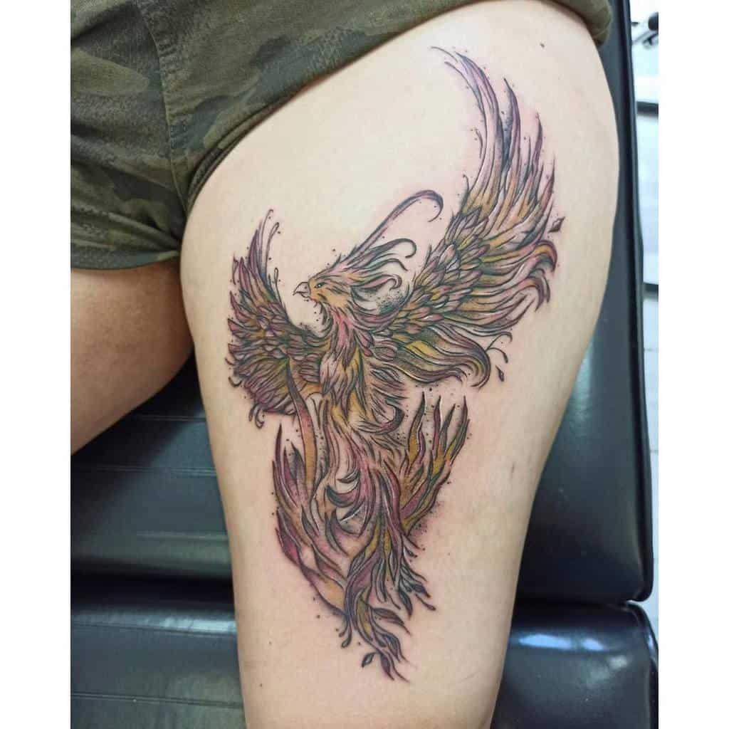 Small Phoenix Thigh Tattoos jita.l