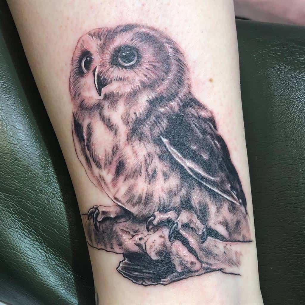 Small Realistic Owl Tattoos soloarttattoos