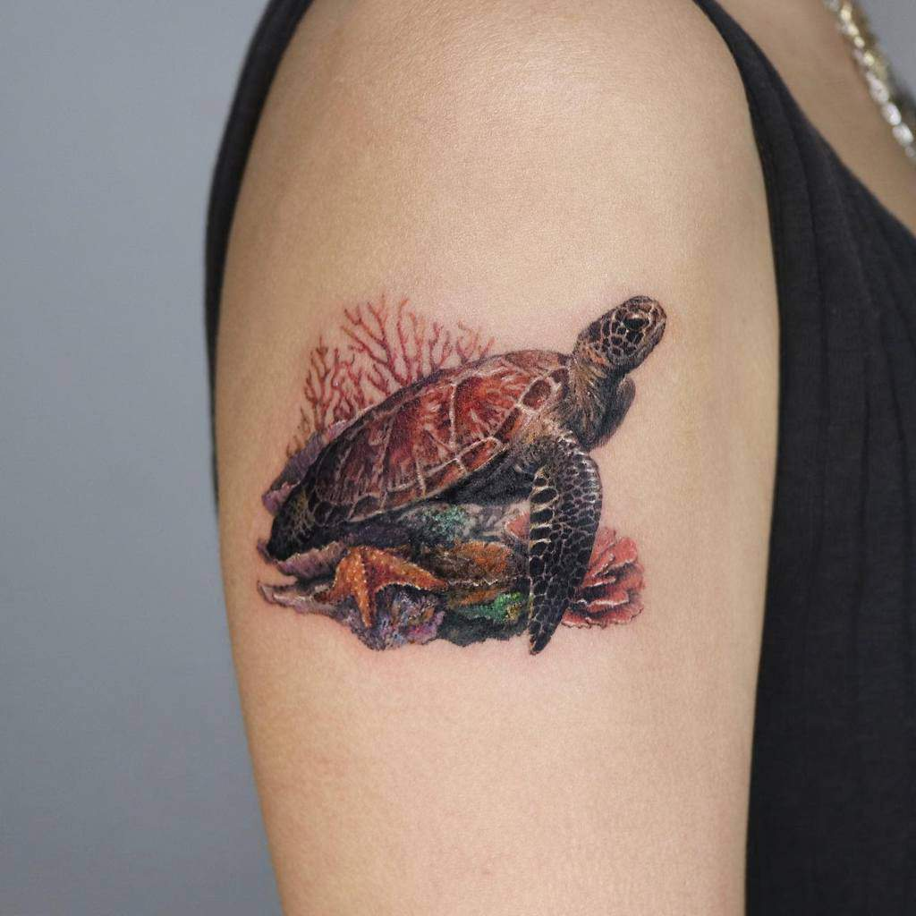 Small Realistic Turtle Tattoos ink.traveler