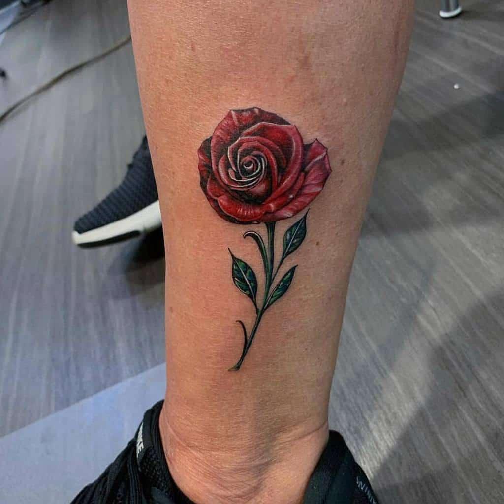 Small Rose Ankle Foot Tattoos Anchoredarttattoo
