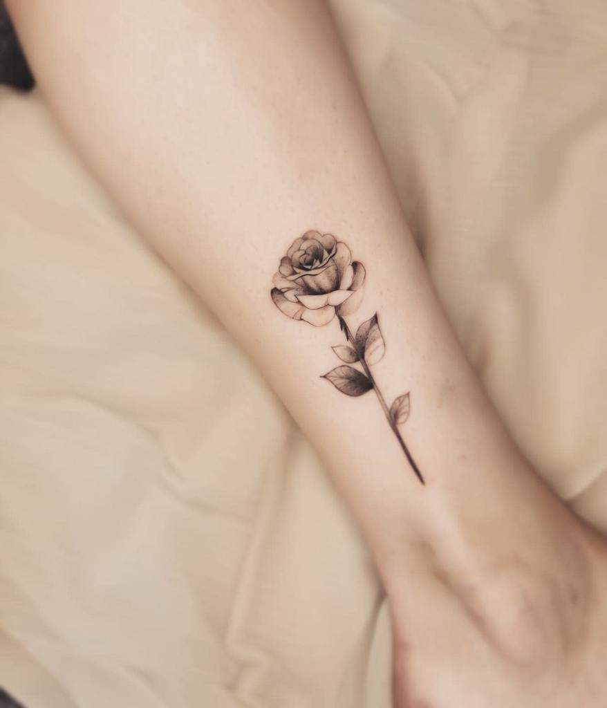 Small Rose Ankle Foot Tattoos Cloudink.tattoo