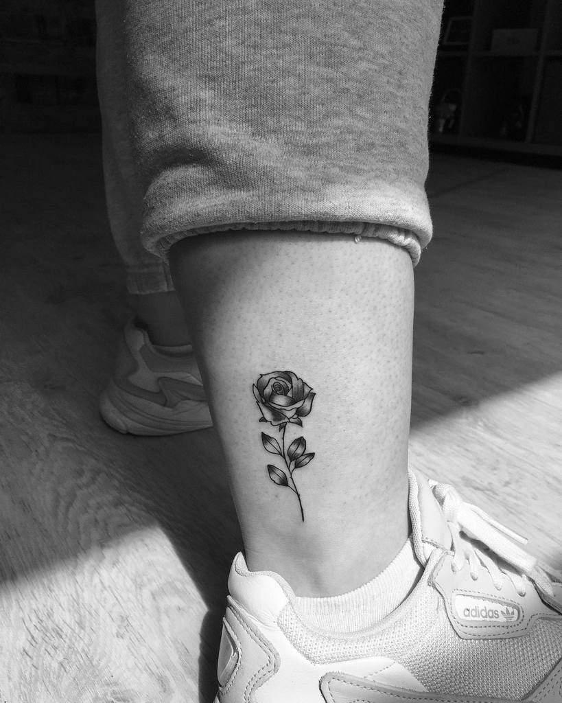 Small Rose Ankle Foot Tattoos Gabikatattoo