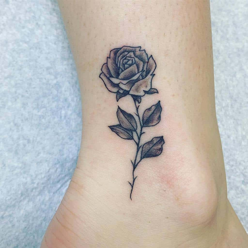 Small Rose Ankle Foot Tattoos Italian Inkster