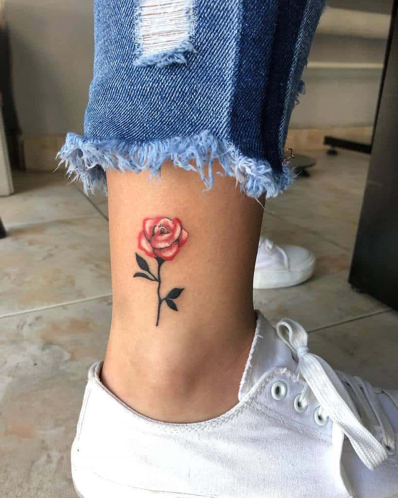 Small Rose Ankle Foot Tattoos Mihailognyanov