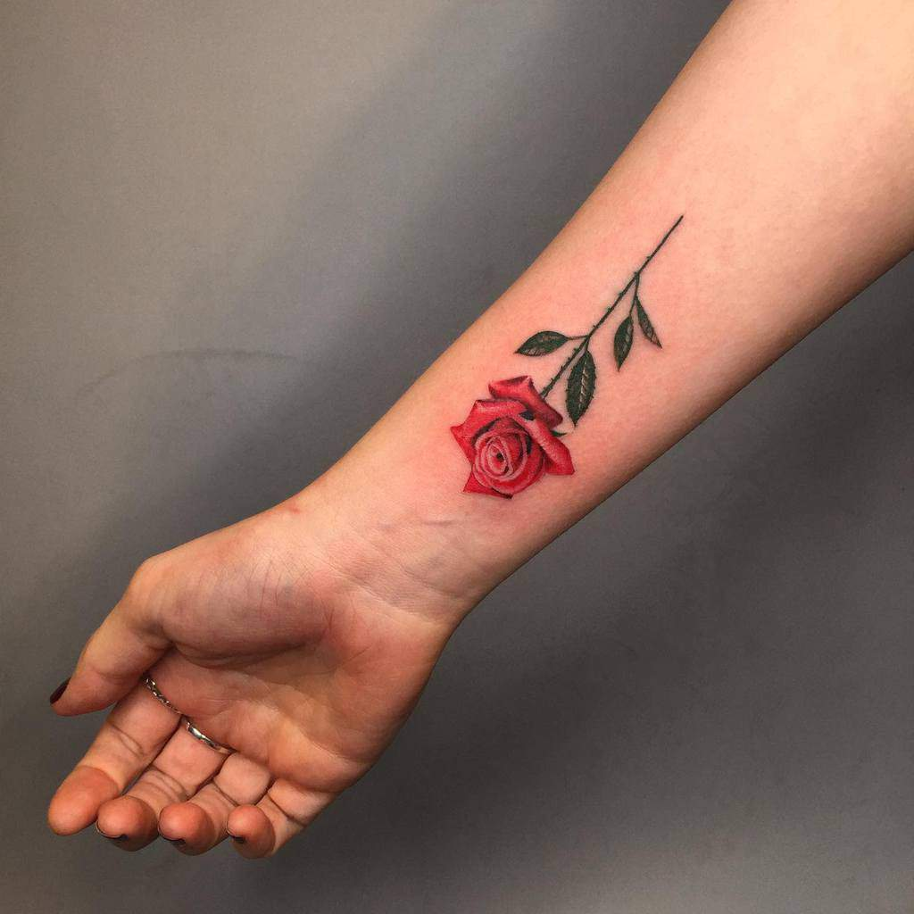 Small Rose Colored Tattoos Nhong Niramit