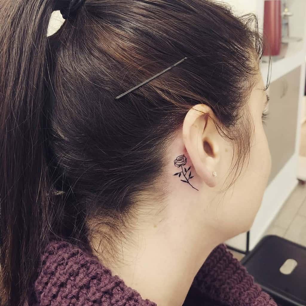 Small Rose Ear Tattoos gurufashionstyle