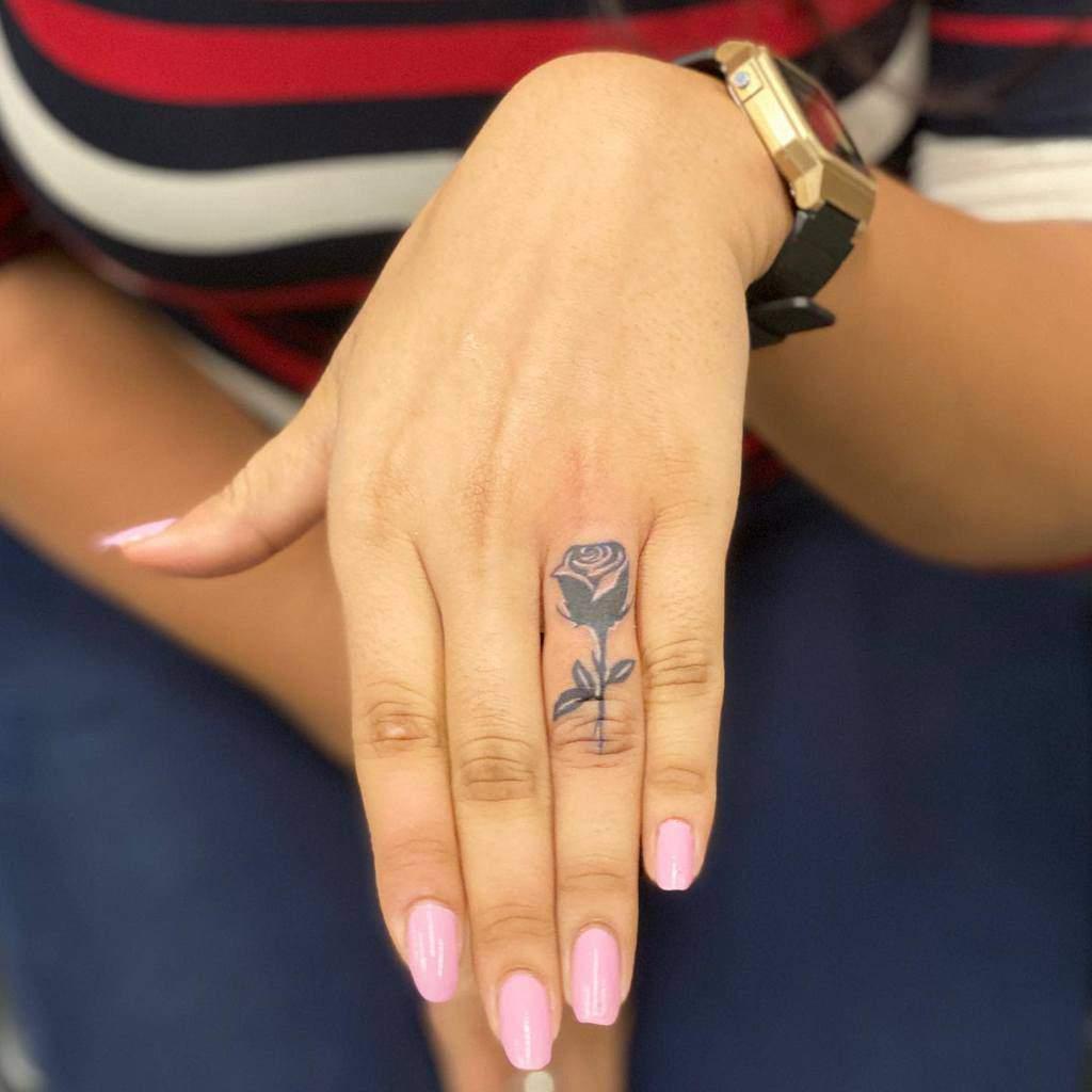 Small Rose Hand Finger Tattoos Nikasha