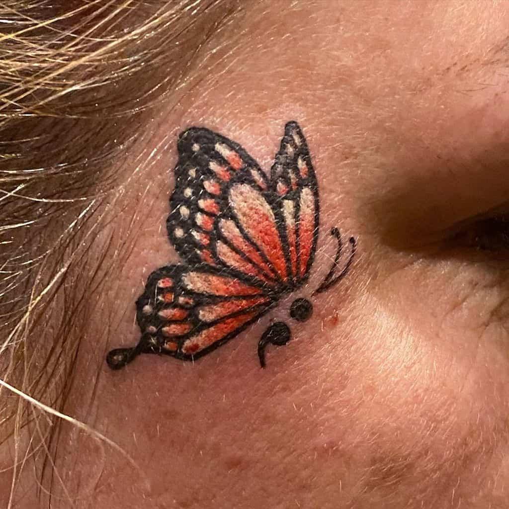 Small Semicolon Butterfly Tattoo mrericvandyktattoos