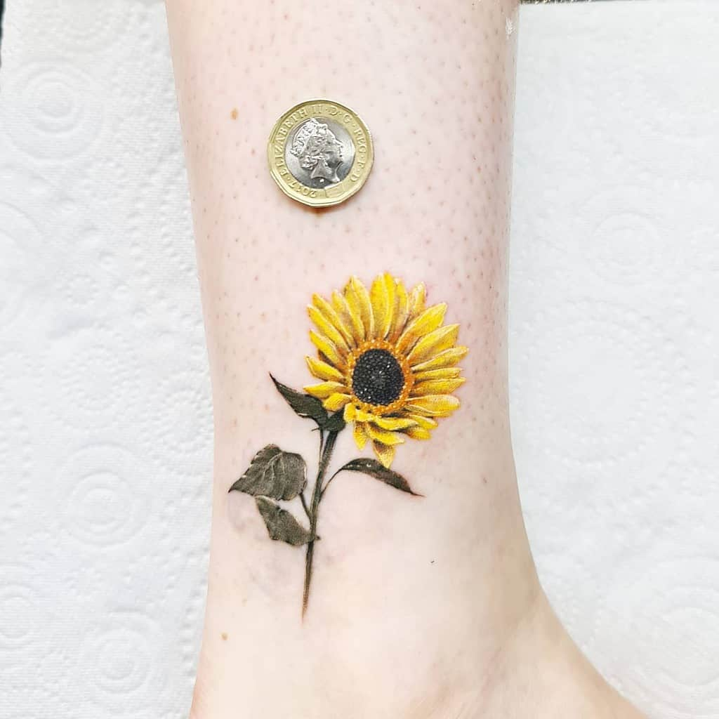 Small Sunflower Ankle Tattoo Leehumphs Tattooer