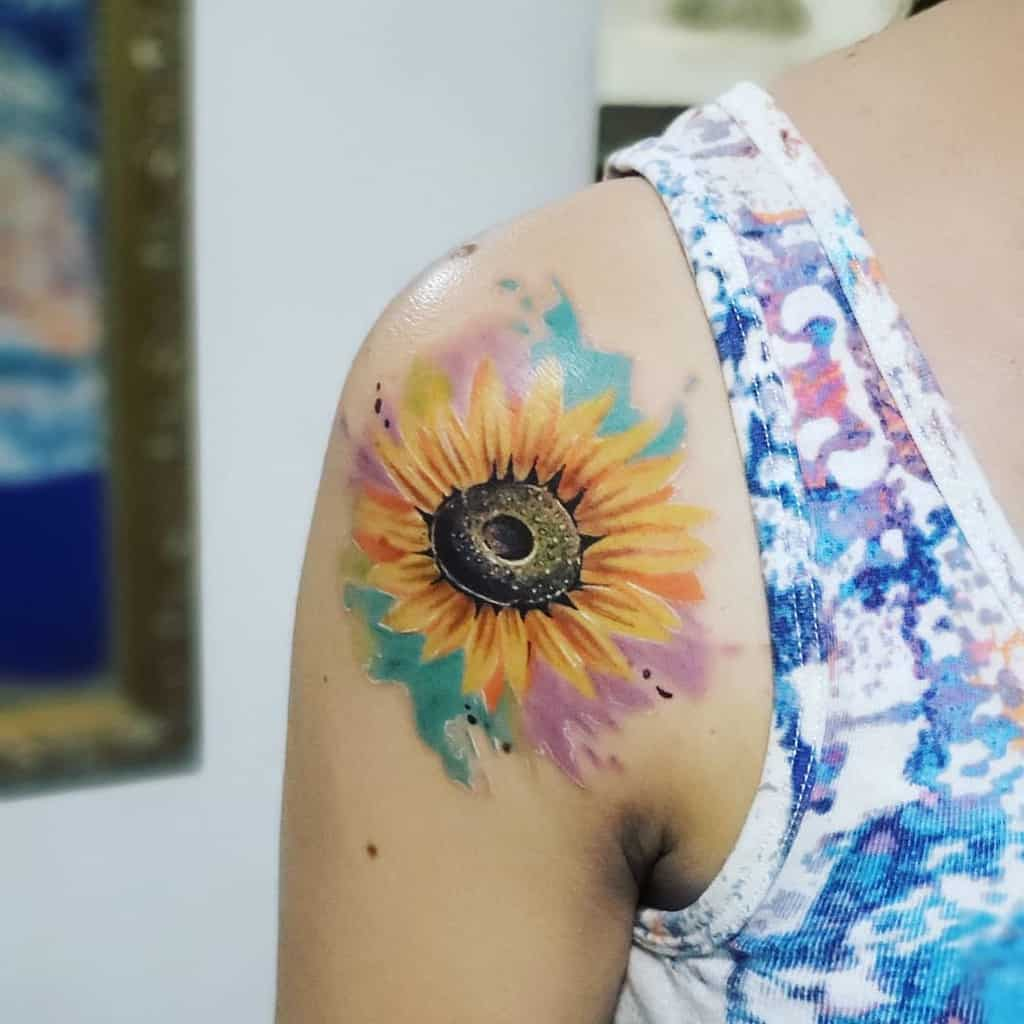 Small Sunflower Shoulder Tattoo Rodny Tattoo