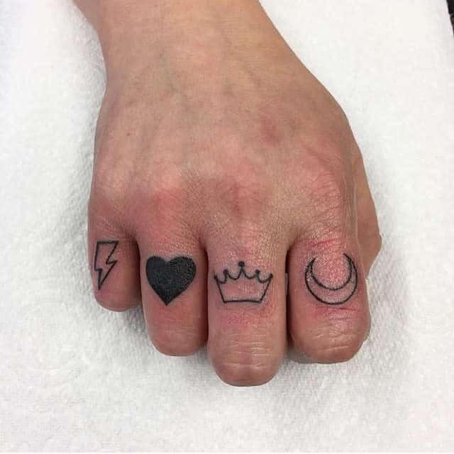 Small Symbol Finger Tattoos inka_tattoos