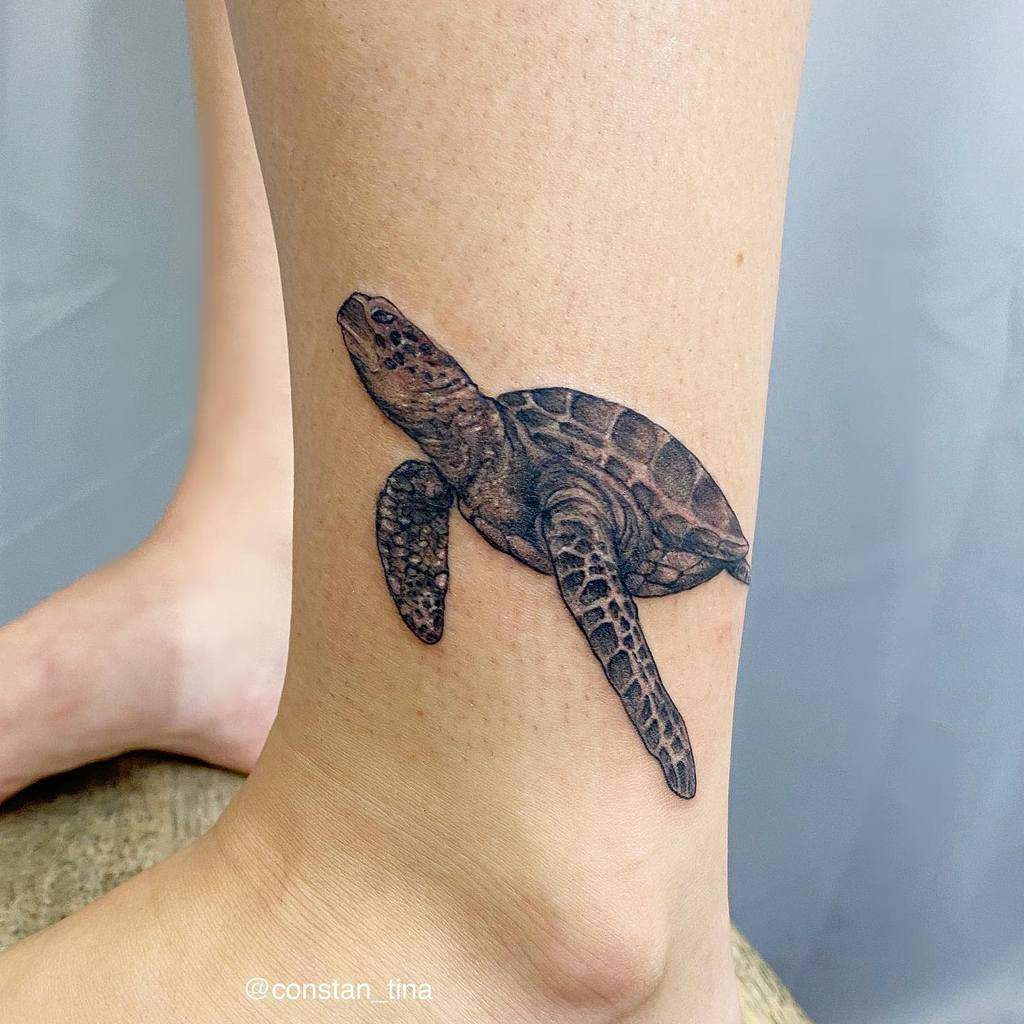 Small Turtle Ankle Tattoos constan_tina