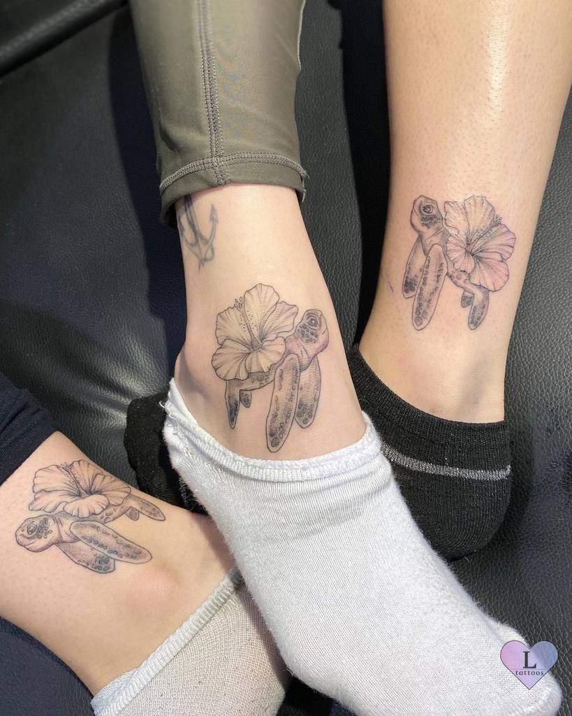 Small Turtle Ankle Tattoos elletattoos.ca
