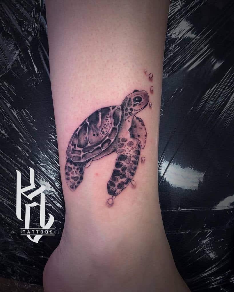Small Turtle Ankle Tattoos kyle.tattoos