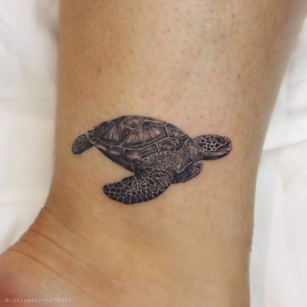 Small Turtle Ankle Tattoos lozzarachtattooer