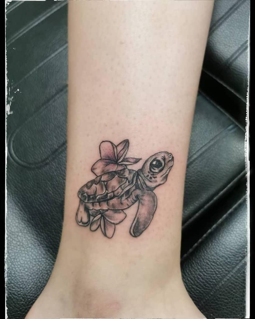 Small Turtle Ankle Tattoos monasila_tattoo