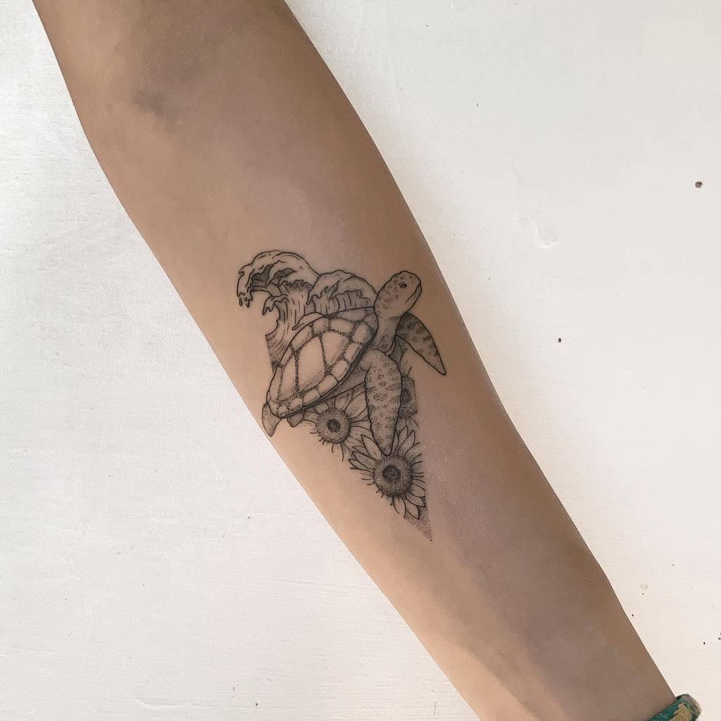 Small Turtle Forearm Tattoos bamorganictattoo