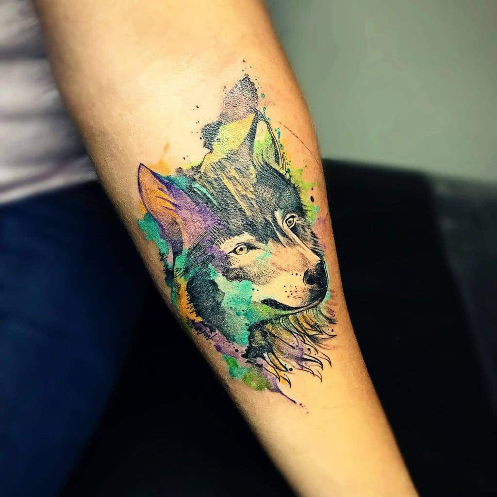 Small Wolf Forearm Tattoo germanstruve_tattoo