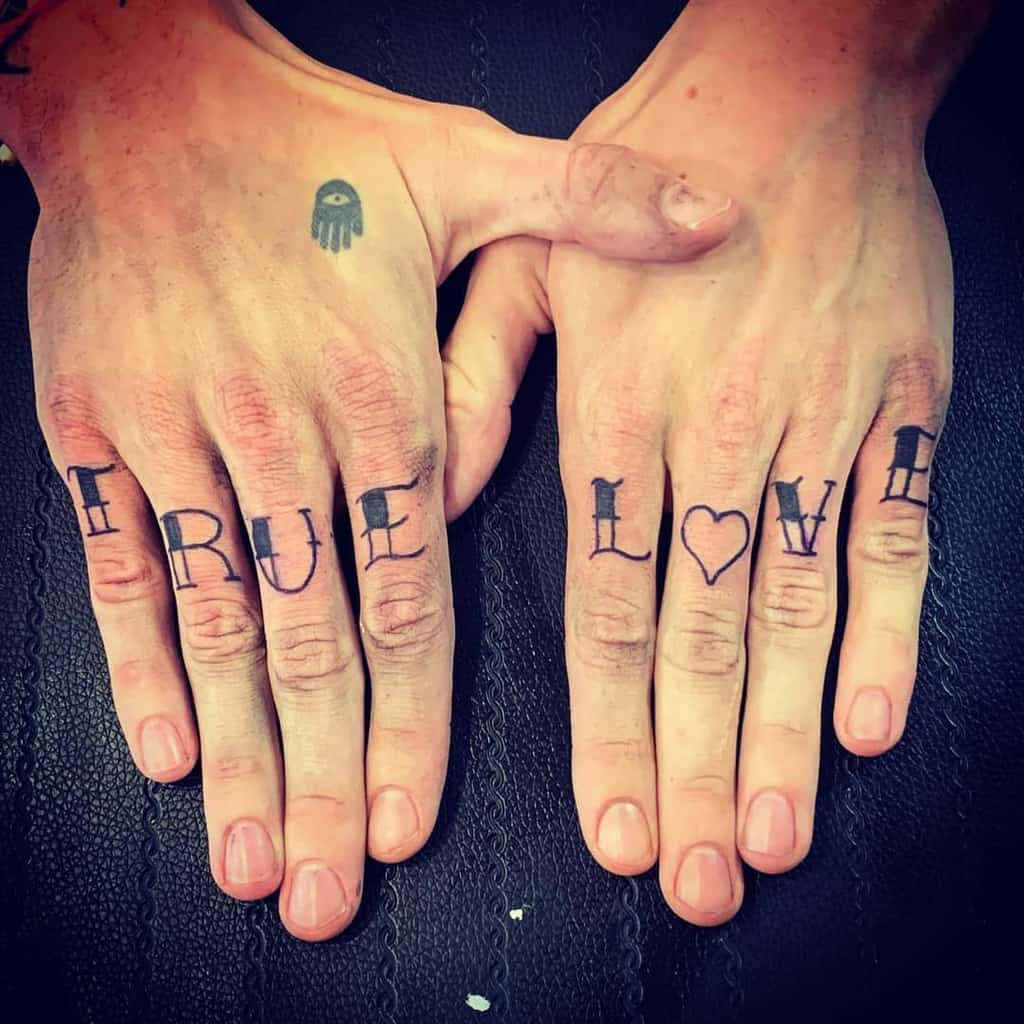 Small Word Finger Tattoos happy_ink.tattoo