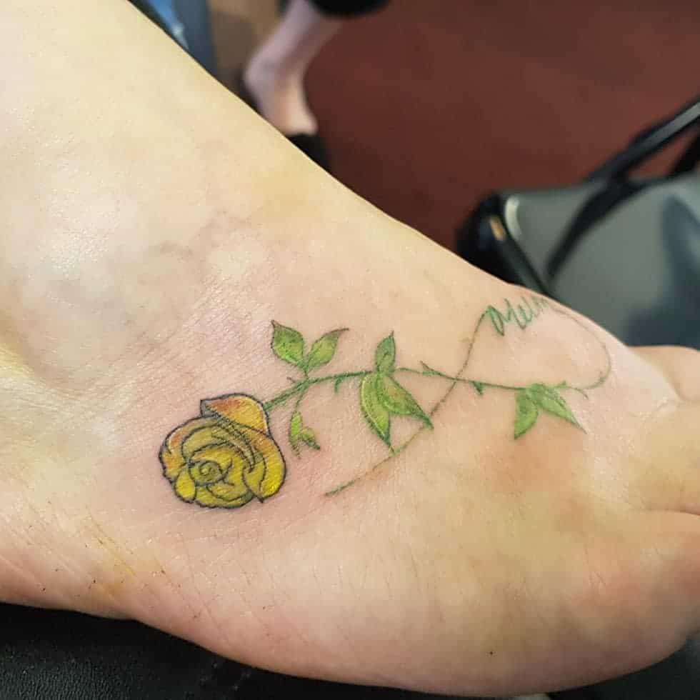 Small Yellow Rose Tattoo -jamescoopertattoos