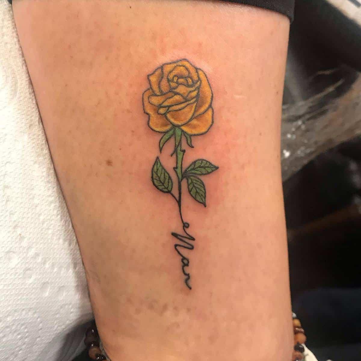 Small Yellow Rose Tattoo -mrsbrown_mummyof1