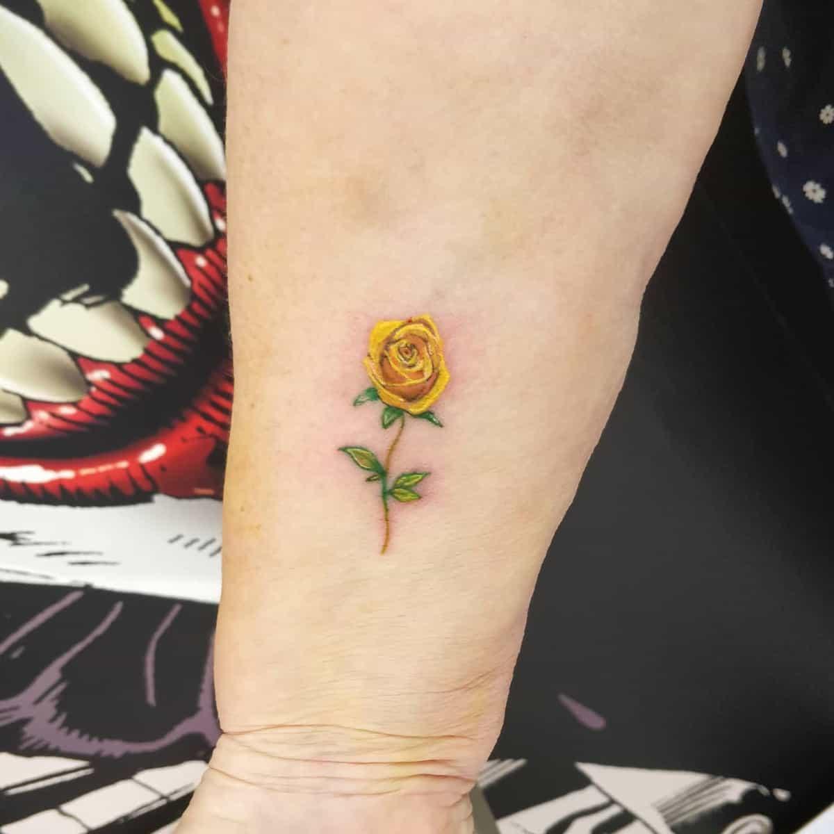Small Yellow Rose Tattoo -stus_tattoos