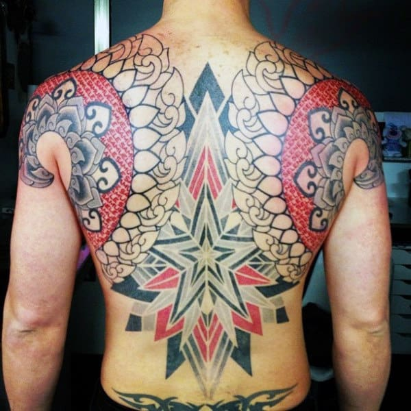 Star Pattern Geo And Tribal Tattoo On Back For Men