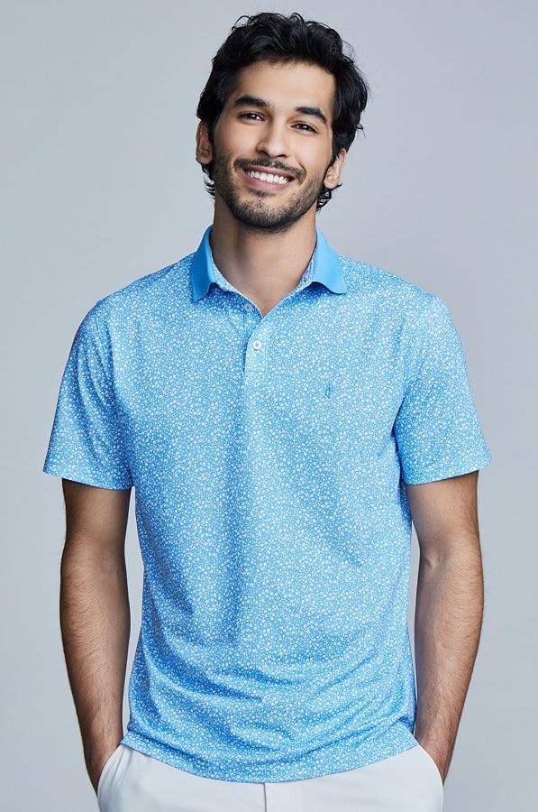 State of Matter Medium Blue Floral Polo