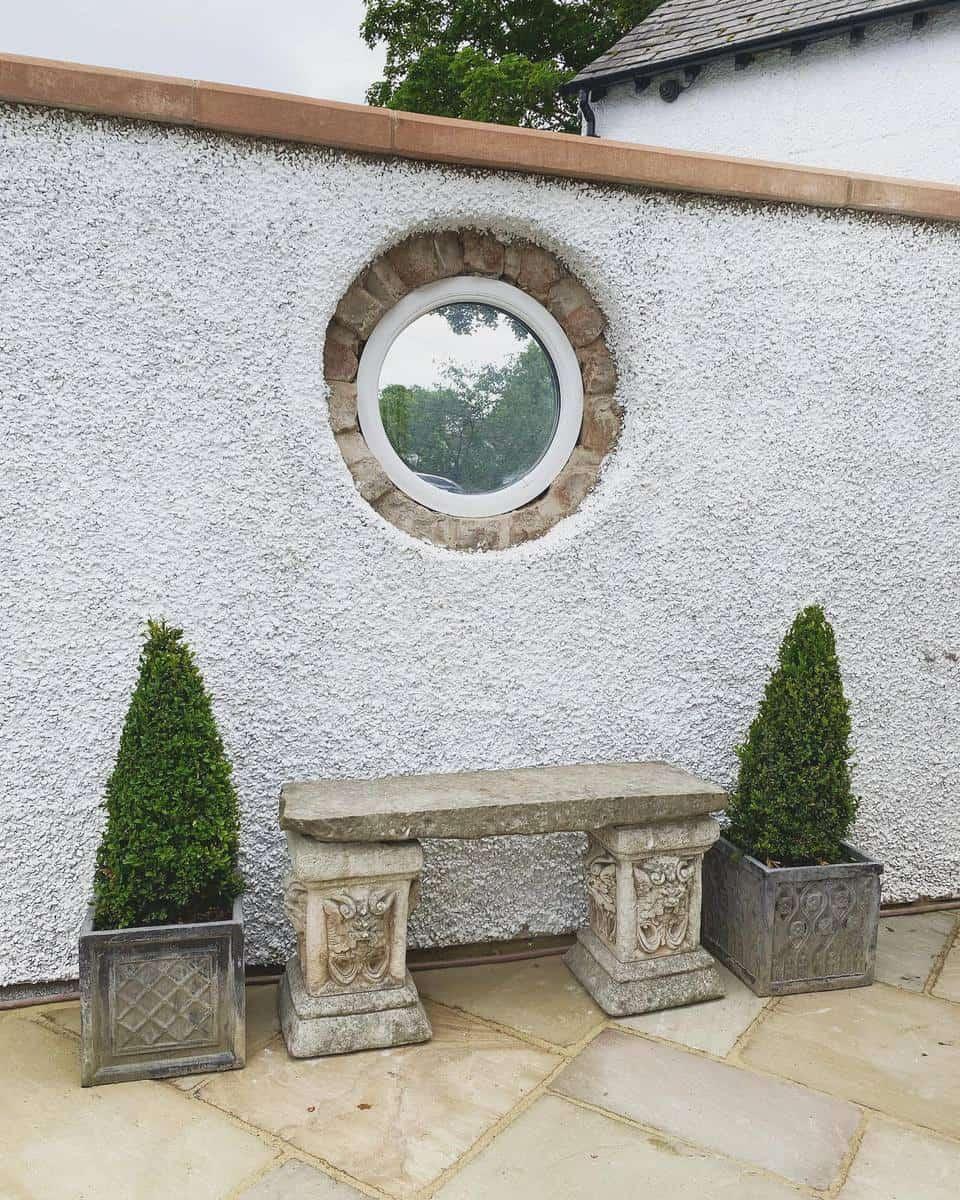 Stone Garden Bench Ideas -hawthorne_cottage