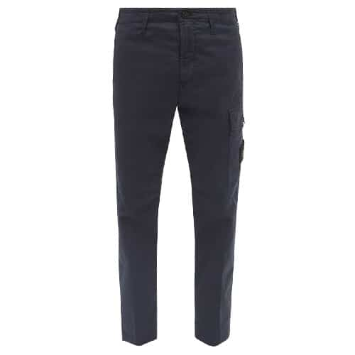 Stone Island Logo-Patch Cotton Blend Cargo Trousers