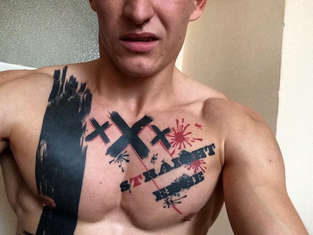 Straight Edge Chest Tattoo Rofricskrisztian